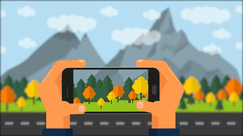 Travel concept. Hands take photo on phone Animation
