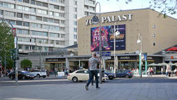 Traffic And Tourists At Famous Cinema Zoopalast In Berlin, Germany Footage