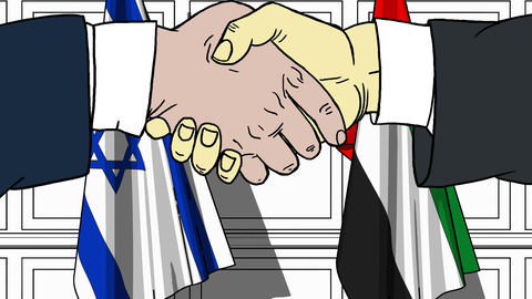 Businessmen or politicians shake hands against flags of Israel and UAE. Official Footage