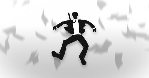 Male silhouette flying, Businessman, Loop Animation