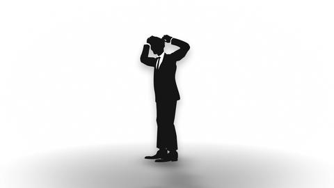 Male silhouette depressed Businessman, Loop Animation