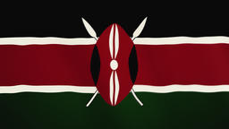 Kenya flag waving animation. Full Screen. Symbol of the country Footage