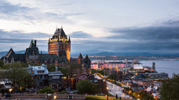Timelapse, time lapse of Quebec City cityscape or skyline, Chateau Frontenac Footage