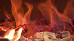 Close-up of burning coals in the stove. Slow motion Footage