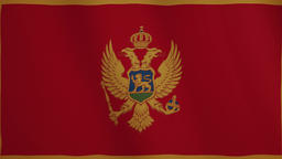 Montenegro flag waving animation. Full Screen. Symbol of the country Footage