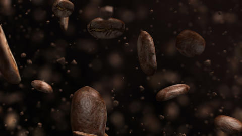 Exploding roasted coffee beans in 4K Footage