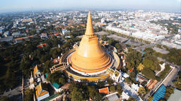 Aerial view Phra Pathommachedi is a stupa in Thailand Footage