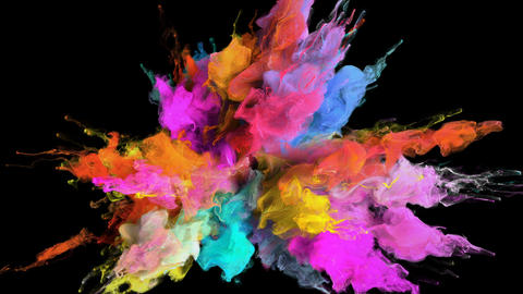 Color Burst - colorful smoke explosion fluid particles alpha matte GIF