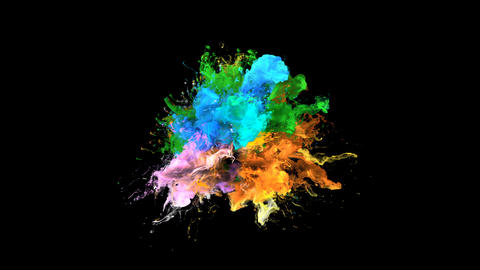 Color Burst - colorful orange blue smoke explosion fluid particles alpha matte CG動画素材