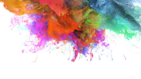 Color Burst - colorful pink blue smoke explosion fluid particles alpha matte CG動画素材