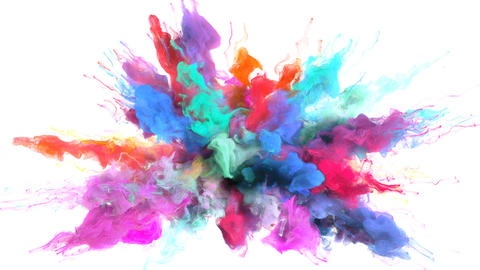 Color Burst - colorful smoke explosion fluid particles alpha matte Animation