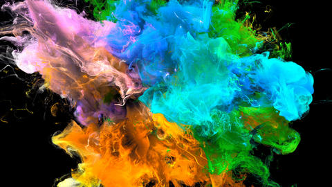 Color Burst - colorful orange blue smoke explosion fluid particles alpha matte Animation