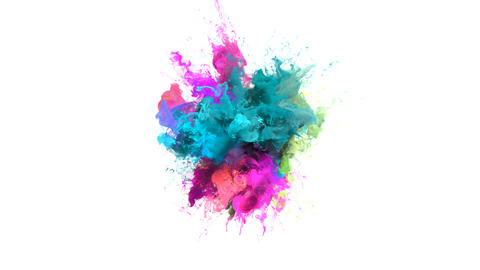Color Burst - colorful cyan magenta smoke explosion fluid particles alpha matte Animation
