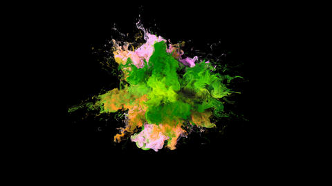 Color Burst - colorful green pink smoke explosion fluid particles alpha matte Animation