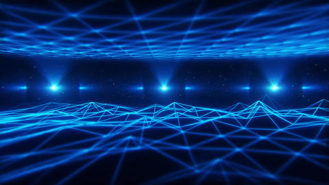 3D Blue Wireframe Landscape in Cyberspace VJ Loop Background Animation