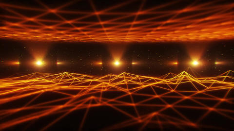 3D Orange Gold Wireframe Landscape in Cyberspace VJ Loop Background Animation