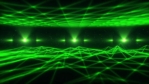 3D Green Wireframe Landscape in Cyberspace VJ Loop Background Animation