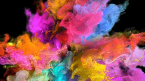 Color Burst - colorful smoke explosion fluid particles alpha matte Animation