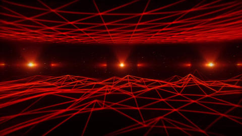 3D Red Wireframe Landscape in Cyberspace VJ Loop Background Animation