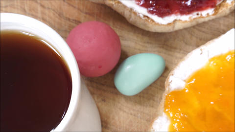 Zoom out of strawberry and apricot jams for breakfast Footage