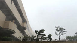 Hurricane, strong wind with heavy rain near the building, 4K Footage