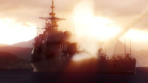 Navy vessel firing off a long range missile Footage