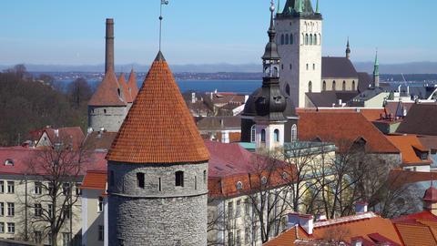 Tallinn skyline, Estonia. Aerial view of Estonia. Tallinn old town, Estonia Footage