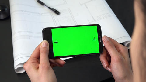 Hands Holding Green Screen Mobile Telephone Monitor Smartphone Cell Phone ライブ動画
