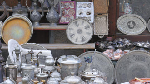 silver copper pots pans at shop, safranbolu, turkey Footage