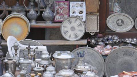 silver copper pots pans at shop, safranbolu, turkey Footage