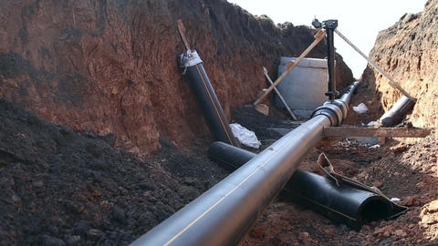 A trench with a gas pipeline Live Action