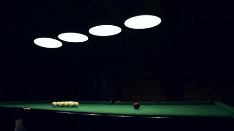 Billiards table and balls Footage