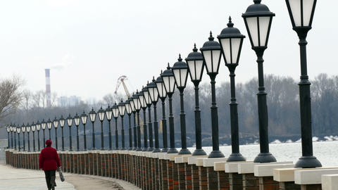 Lanterns Lit on The Riverbank Day Footage
