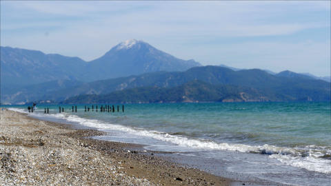 fethiye, turkey mediterranean beach by sea in winter, cloudy day Footage