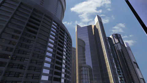Skyscrapers Drive By Footage
