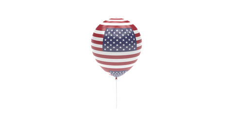 United-States Balloon Rotating Flag Animation - Alpha Channel - Transparent Animation