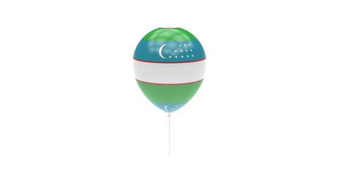 Uzbekistan Balloon Rotating Flag Animation - Alpha Channel - Transparent Animation