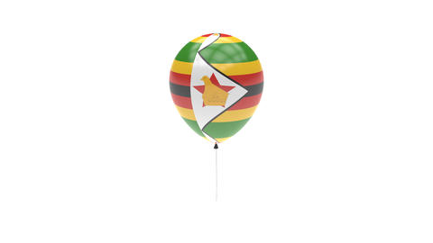 Zimbabwe Balloon Rotating Flag Animation - Alpha Channel - Transparent Animation