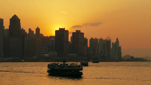 Hong Kong at sunset. Victoria Harbour and Central Footage