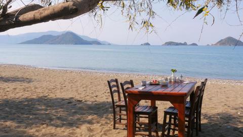 Turkish breakfast at beach by sea, fethiye, turkey Footage