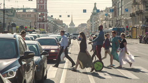 People Walking On Zebra Crossing Footage