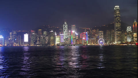Coast line of Hong Kong in the evening Live Action