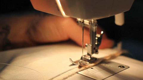 Tailor at work on sewing machine Footage