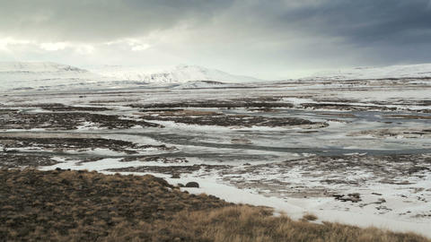 Time lapse of wide winter panorama in Iceland Live Action