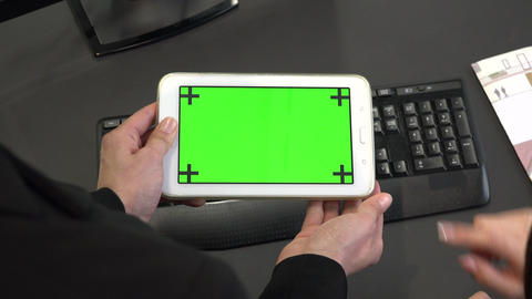 Fingers Touching Ipad Green Screen Monitor Digital Tablet Live Action