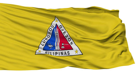 Isolated Quezon city flag, Philippines Animation