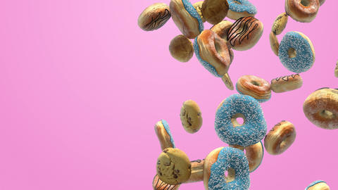 Different donuts on a pink background Animation