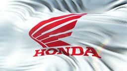 Honda Motors flag waving on sun. Seamless loop with highly detailed texture Animation