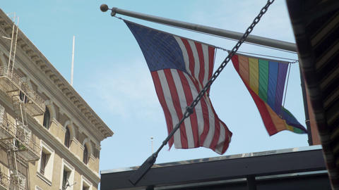 American & Gay Pride Flags Footage