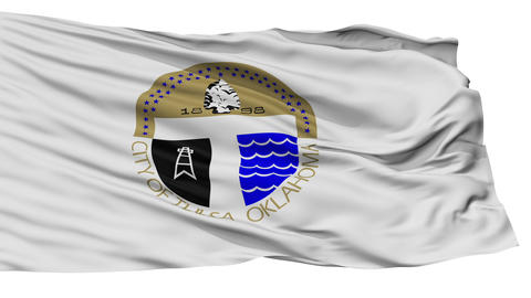 Isolated Tulsa city flag, USA Animation